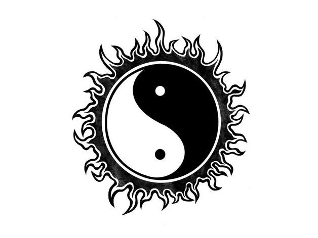 Cool Blood Splatter Yin Yang Dragons Tattoo Design