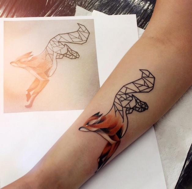 Cool Geometric Rabbit Tattoo On Arm For Girls photo - 1