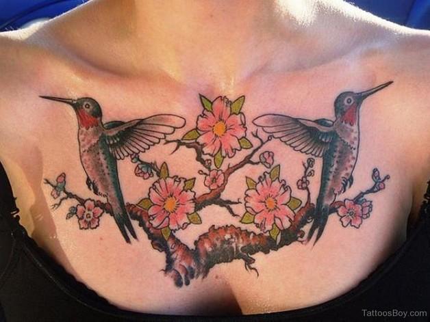 Cool Hummingbird Tattoo On Back photo - 1
