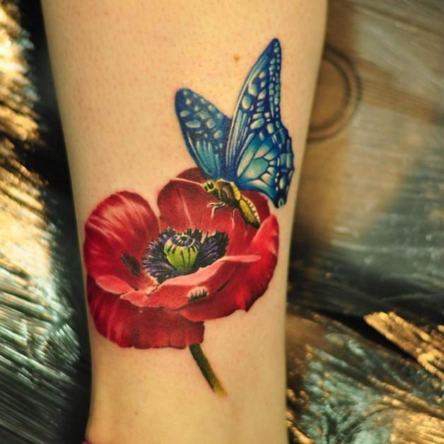 Creative Poppy Flower Tattoo photo - 1