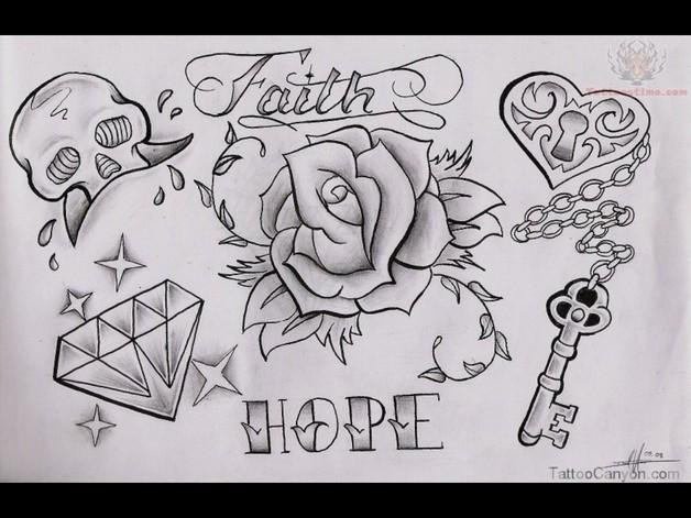 Crow With Rose Diamond Tattoo Design
