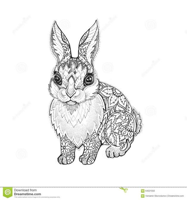 Cute Cartoon Rabbit Tattoo photo - 1