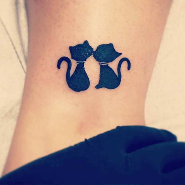 Cute Kitty Tattoo On Ankle photo - 1
