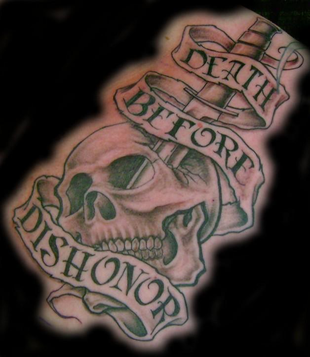 Dagger & Skull Tattoo Design photo - 1