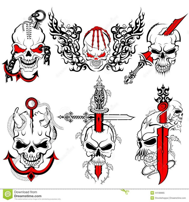 Dagger Skull Tattoo Design photo - 1