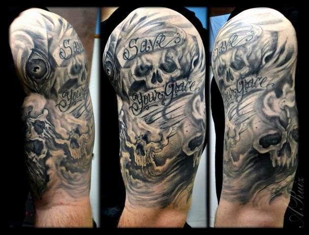 Dagger Skull With Chain Tattoo Design photo - 1