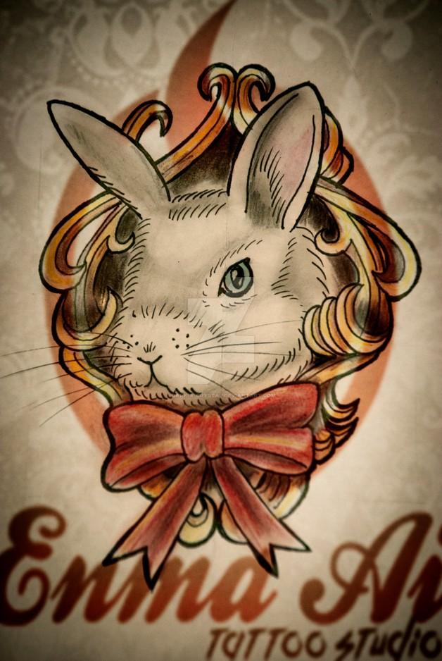 Dark Black Rabbit Tattoo Idea photo - 1