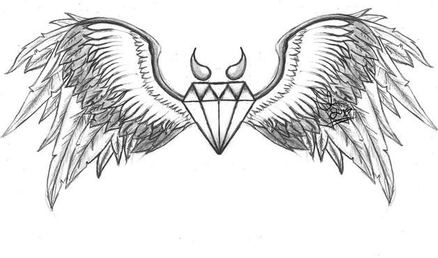 Diamond Bat Wings Tattoo Design photo - 1
