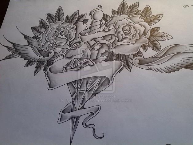 Diamond Chest Piece Tattoo Design photo - 1