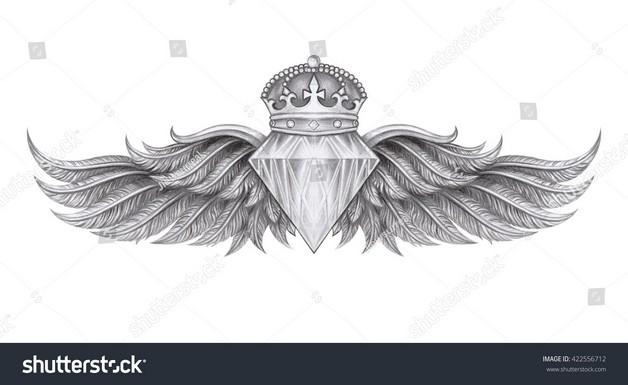 Diamond With Wings Tattoo Drawing photo - 1