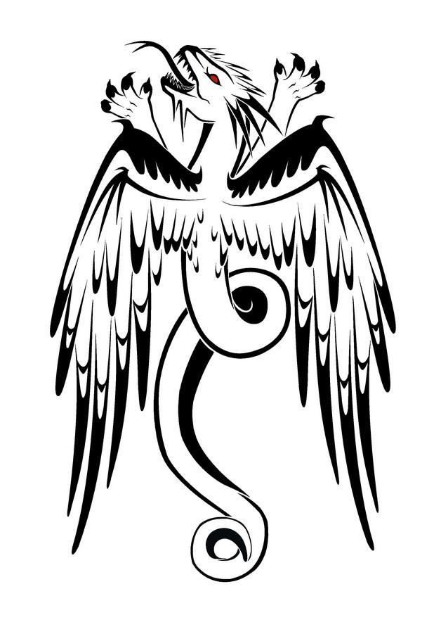 Dragons Yin Yang Tattoo Model photo - 1