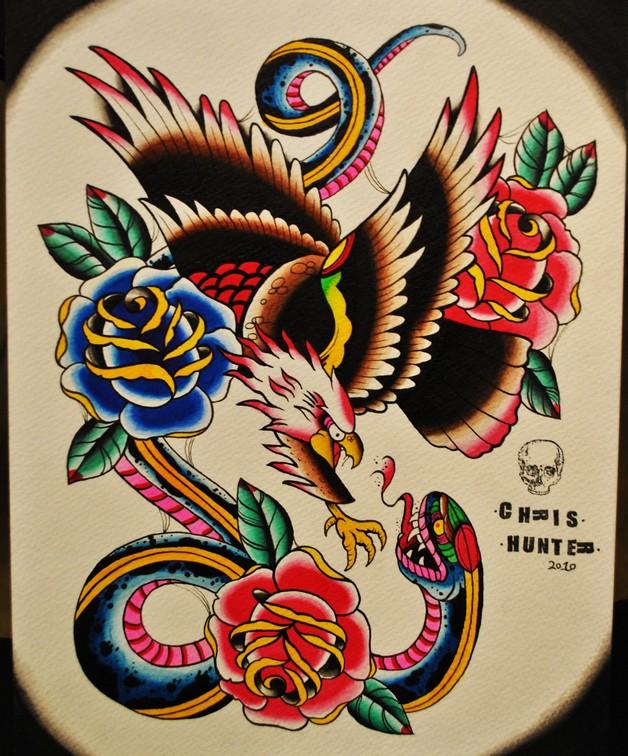 Eagle Attacking Tattoo Design photo - 1