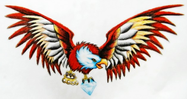 Eagle With Anchor Tattoo Design On Belly photo - 1