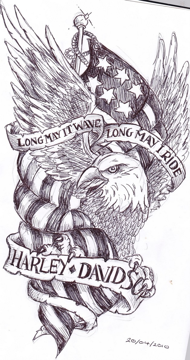 Eagle With Banner Tattoo Design photo - 1