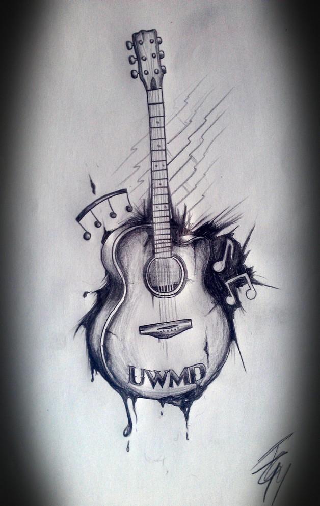 Eagle With Guitar Tattoo Design photo - 1