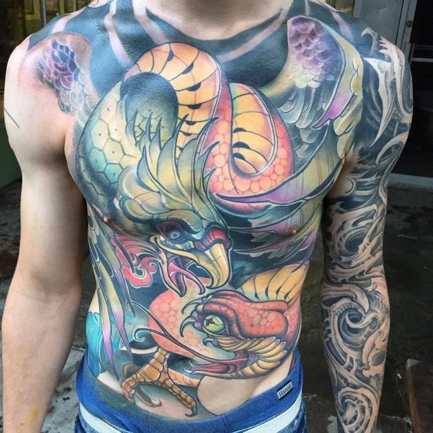 Eagle With Snake Tattoo On Back photo - 1