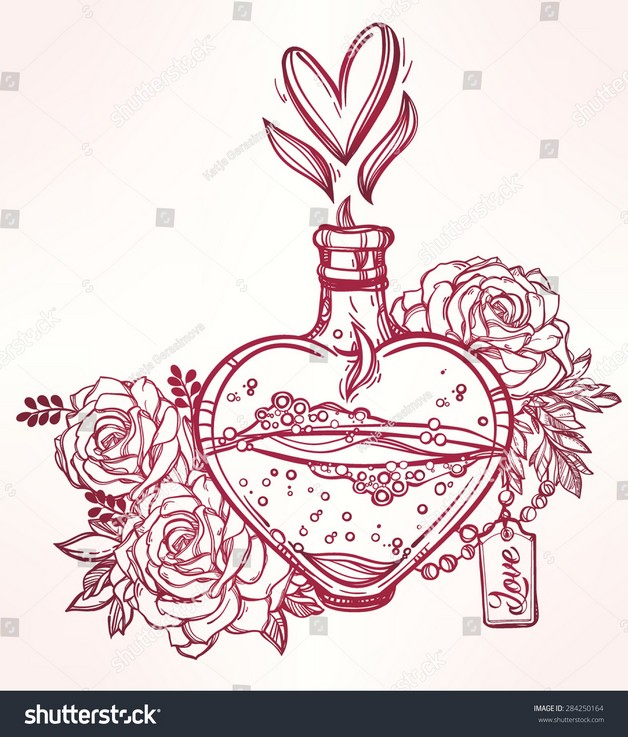 Elegant Perfume Bottle Tattoo With Rose photo - 1