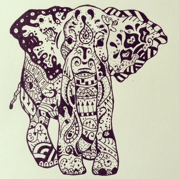 Elephant Head Octopus Tattoo Sketch photo - 1