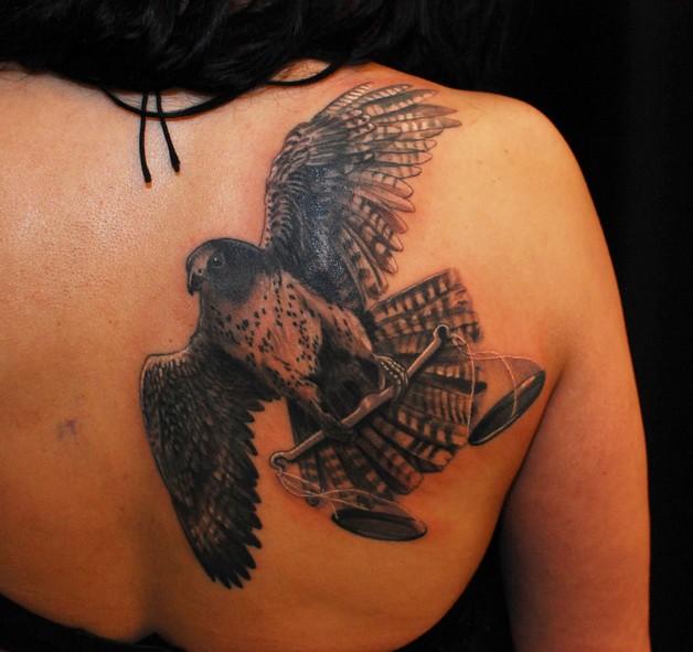 Falcon Yin Yang Back Shoulder Tattoo photo - 1