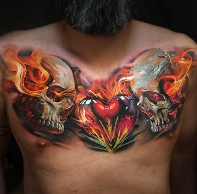 Flaming Glass Heart Tattoo On Chest photo - 1