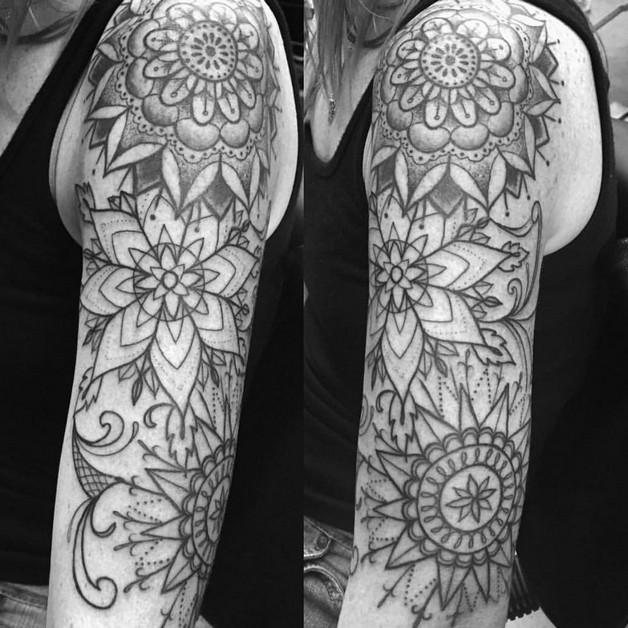 Floral Strength Tattoo Design photo - 1