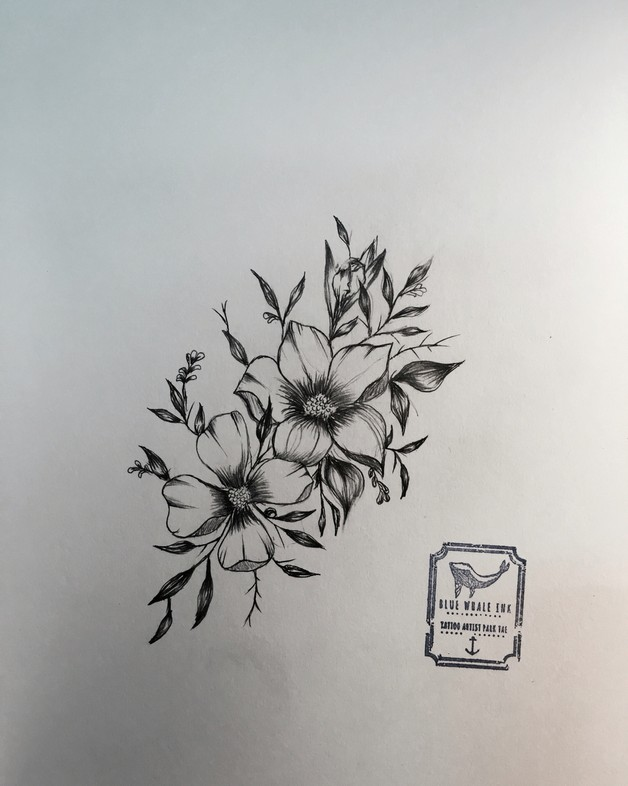 Floral tattoo design for Single flower tattoo