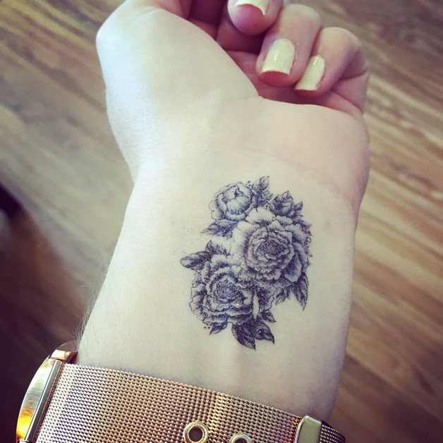 Side Wrist Flower Tattoos