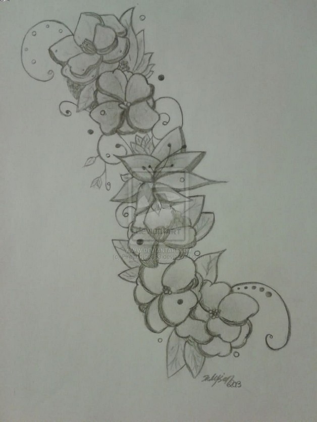 Floral Tattoo On Back Waist photo - 1