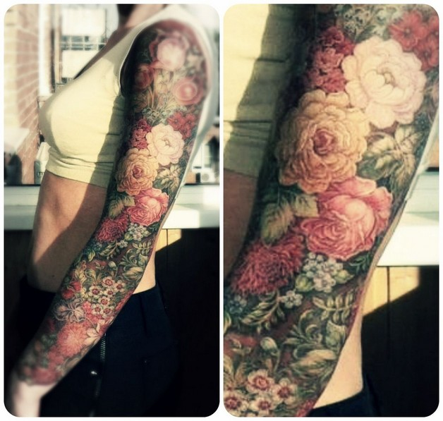 Floral Tattoo Picture On Arm photo - 1