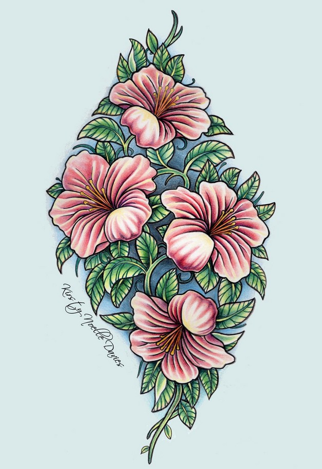 Floral Tiger Tattoo Design photo - 1