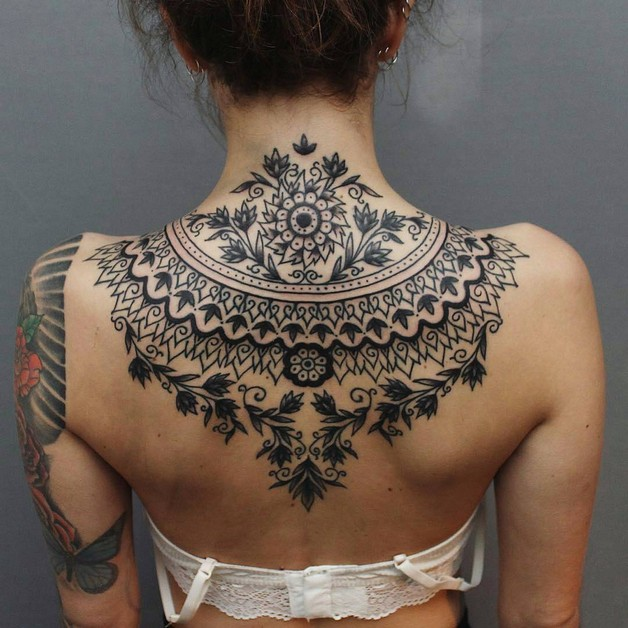 Floral Upper Back Tattoo Design photo - 1