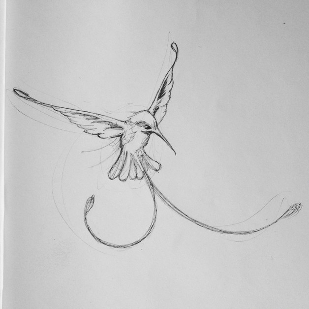 Flower Hummingbird Tattoo Design photo - 1