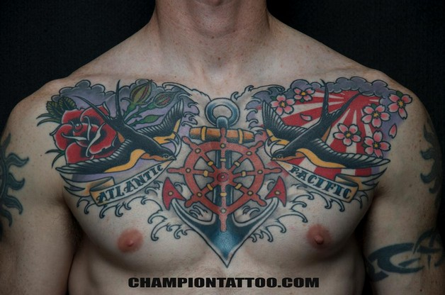 Flower Tattoo Design For Men On Chest photo - 1