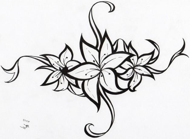 Flower Tattoo Sketch photo - 1