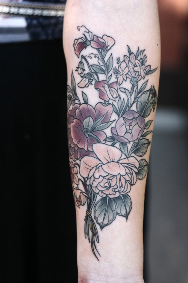 Flower n Bee Tattoo On Left Arm For Girls photo - 1
