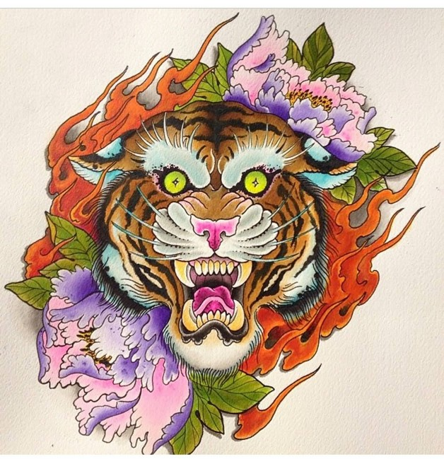 Flowers And Tiger Tattoo Designs photo - 1