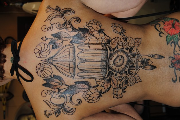 Flying Birds And Grey Perfume Bottle Tattoos On Ribs photo - 1