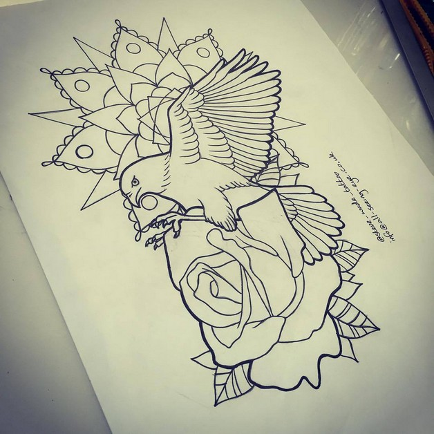 Flying Hour Glass And Rose Tattoo Designs photo - 1