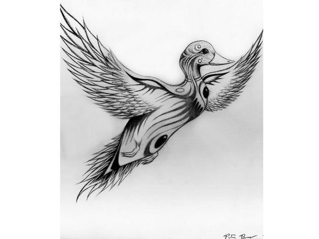 Flying Tribal Rabbit Tattoo Design photo - 1