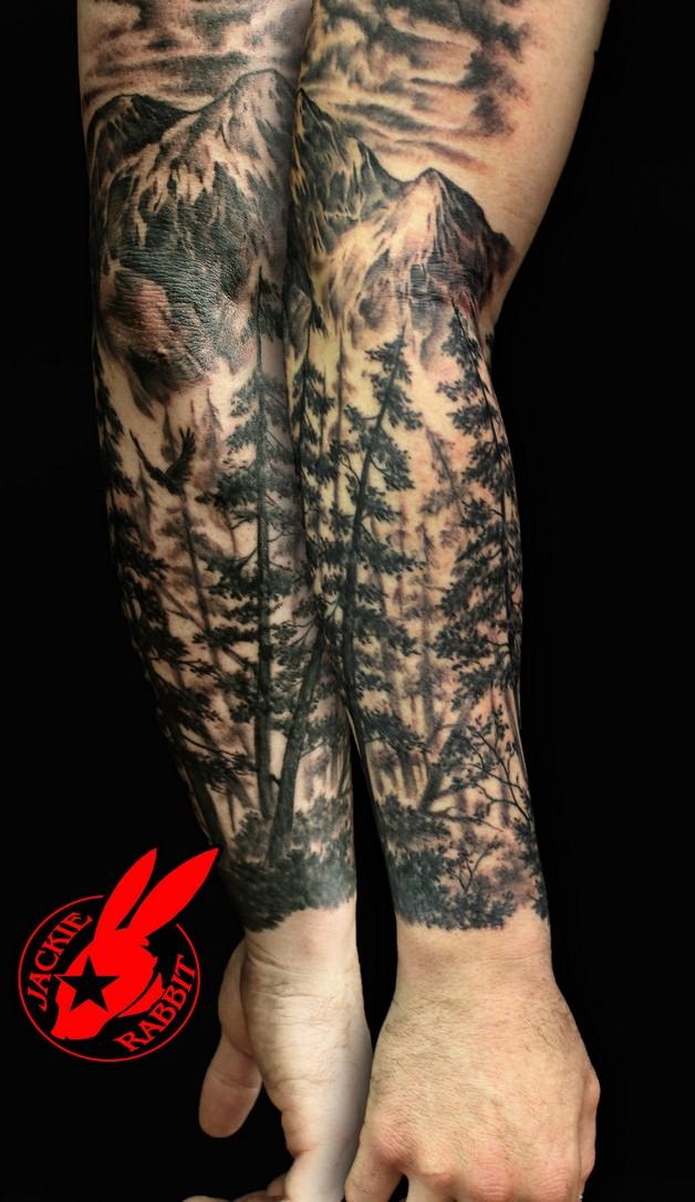 Forest Tiger Half Sleeve Tattoos