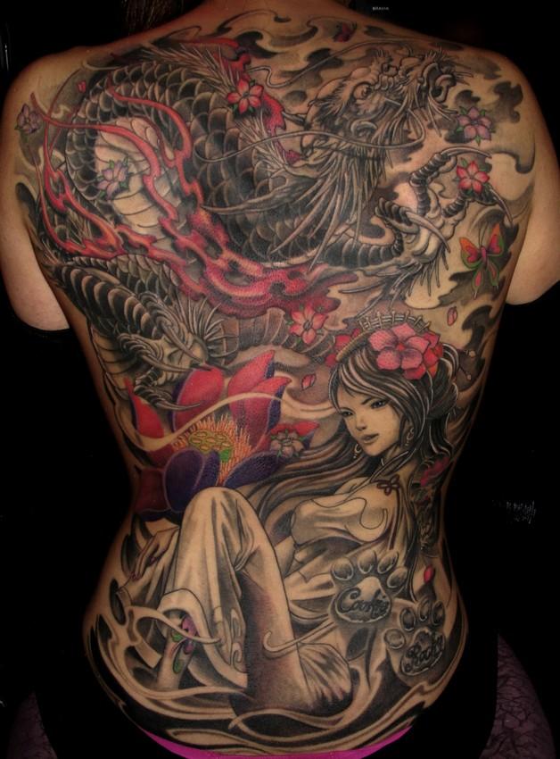 Full Back Asian Samurai Tattoo For Men photo - 1