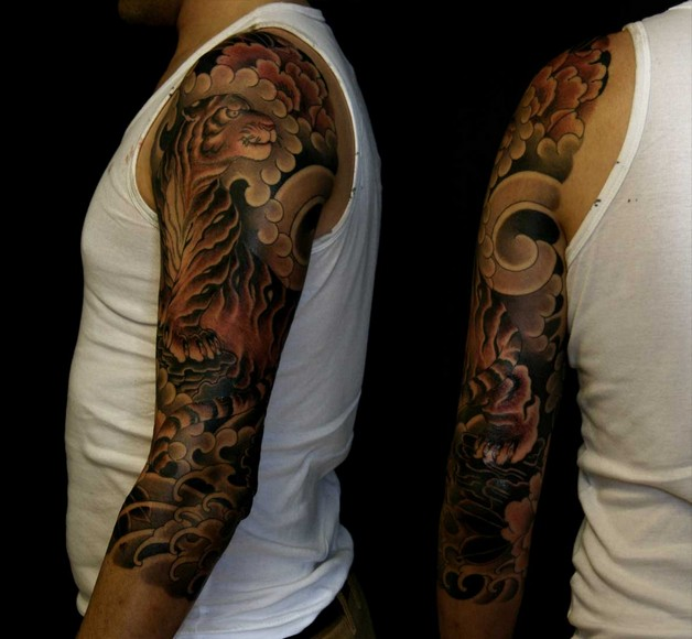 Full Back Japanese Angry Tiger Tattoo photo - 1