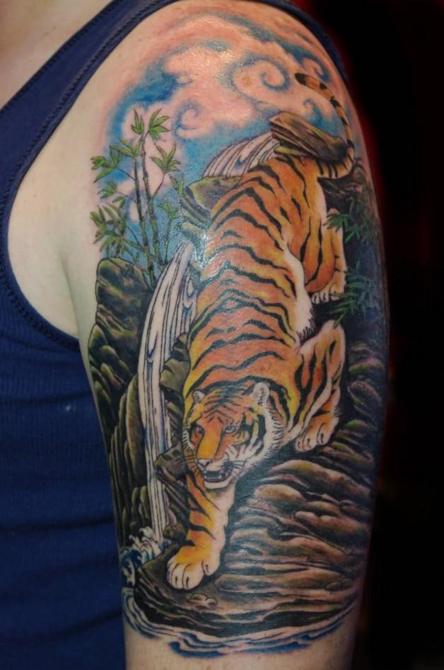 Full Back Yin Yang Tiger Dragon Tattoo