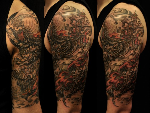 Full Sleeve Asian Tattoo Design With Color Ink photo - 1
