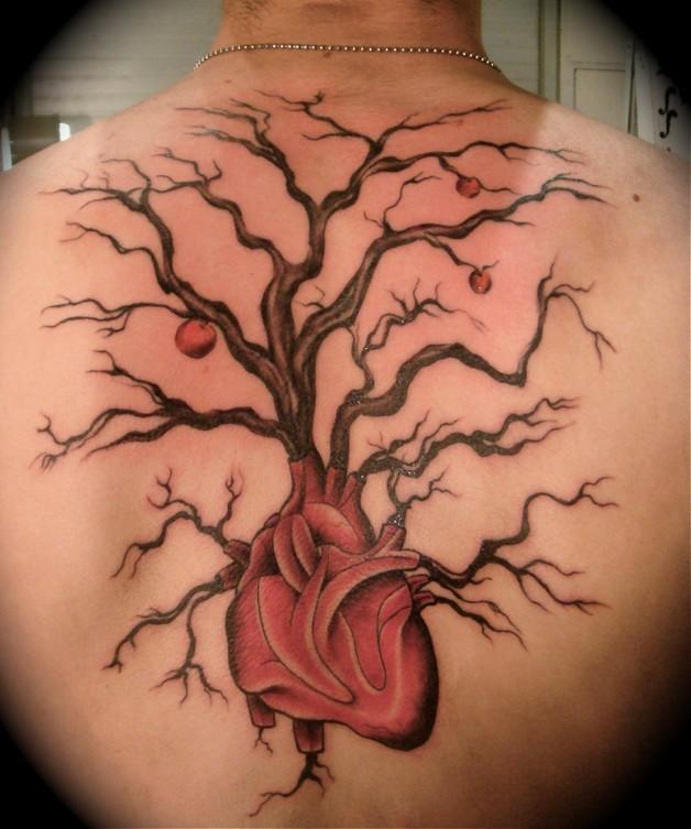 Funny Heart Tree Tattoo On Back photo - 1