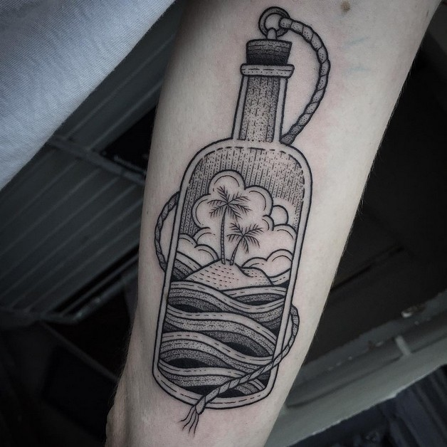 Glass Bottle And Fern Tattoos photo - 1