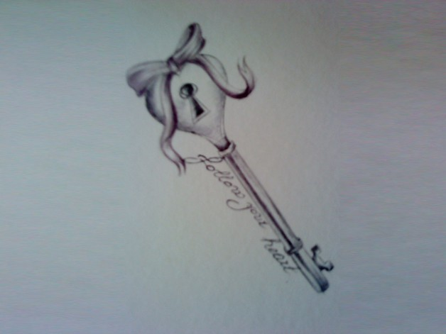 Gorgeous Heart Key With Ribbon Tattoo photo - 1