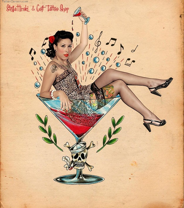 Gorgeous Pin Up Girl Sitting On Tyre Tattoo photo - 1