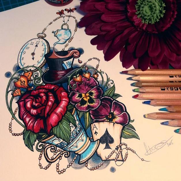 Grey Ink Alice In Wonderland Bottle Tattoo On Arm photo - 1