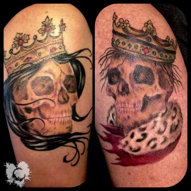 Grey Ink Aztec Queen Tattoo On Biceps photo - 1